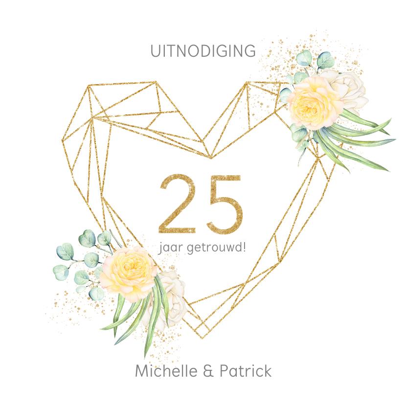 Jubileumkaarten - Jubileum 25 jaar rozen gouden hart