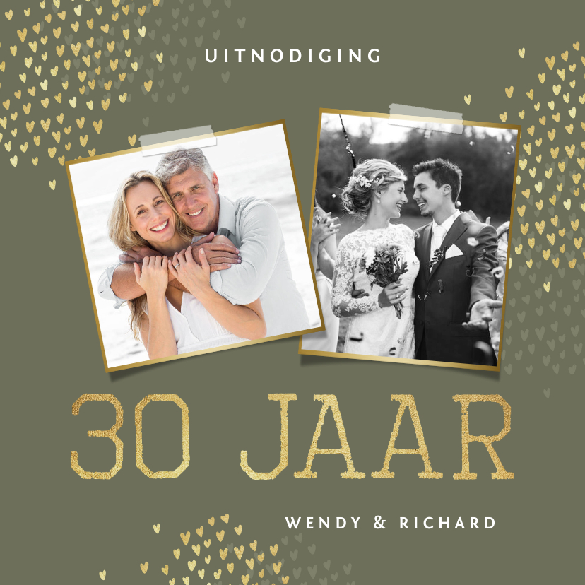 Jubileumkaarten - Jubileum 30 jaar uitnodiging goud hartjes