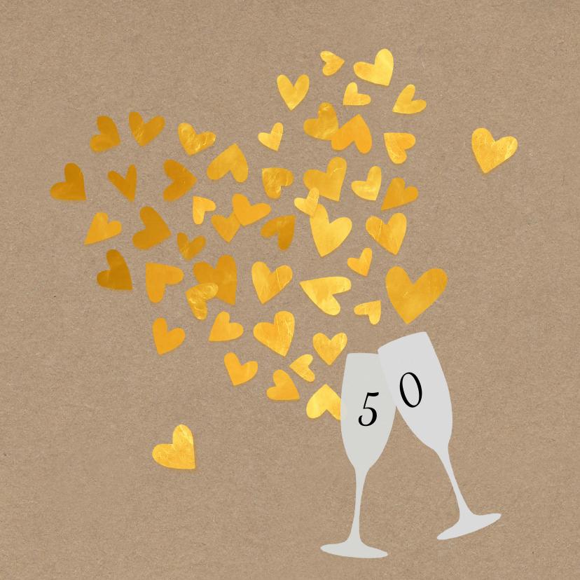 Jubileumkaarten - Jubileum 50 gouden hartjes
