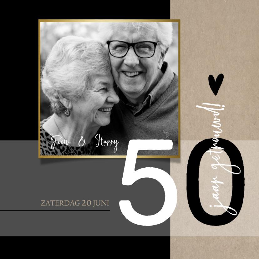 Jubileumkaarten - Jubileum 50 jaar getrouwd, zwart met craft papier look