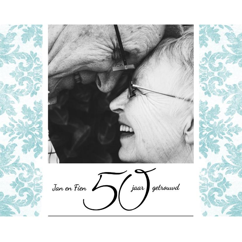 Jubileumkaarten - Jubileum, 50 jaar huwelijk, met retro bloemenbehang