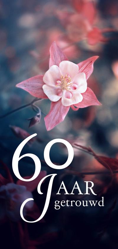 Jubileumkaarten - Jubileum 60 jaar getrouwd bloem