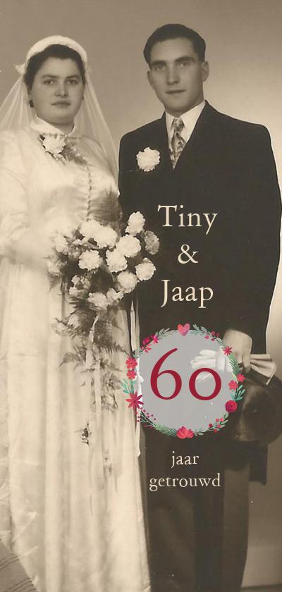 Jubileumkaarten - Jubileum 60 jaar getrouwd met bloemencirkel