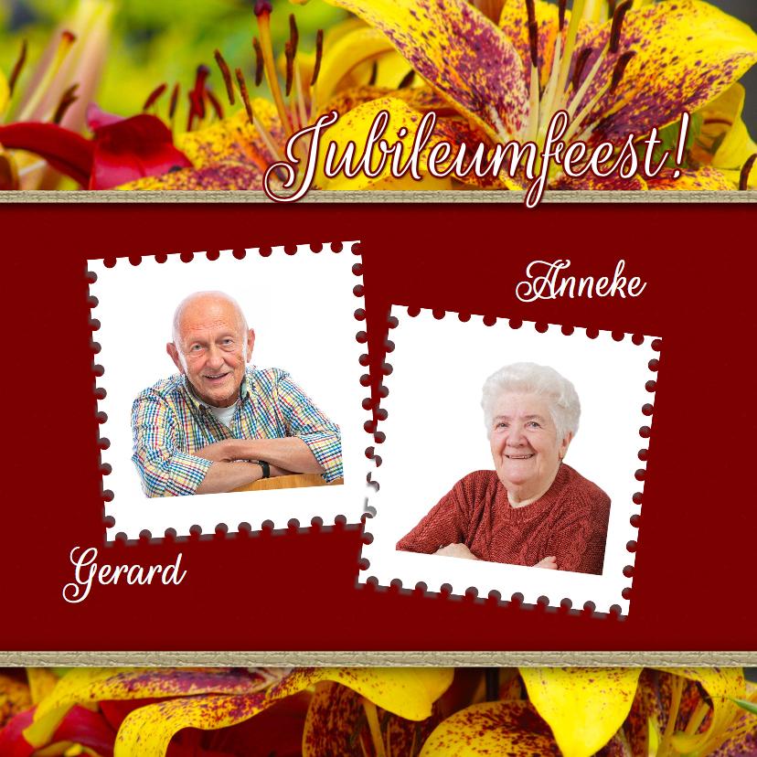 Jubileumkaarten - Jubileum bloemen zelf aanpassen