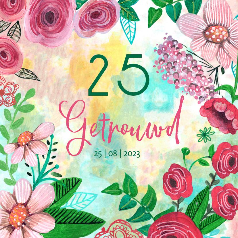 Jubileumkaarten - Jubileum Getrouwd 25 jaar bohemian bloemen