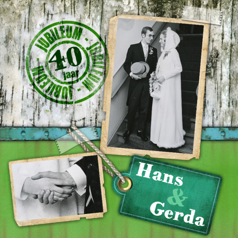 Jubileumkaarten - jubileum kaart feest hout groen stempel