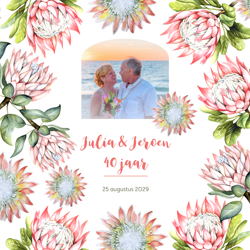 Jubileumkaarten - Jubileum protea tropisch
