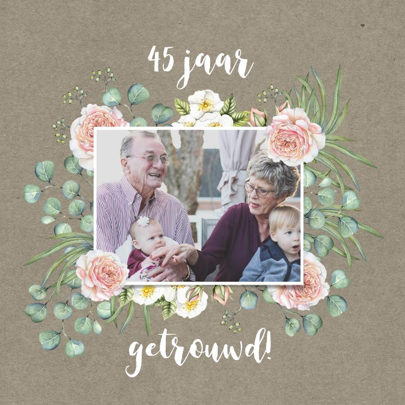 Jubileumkaarten - Jubileum rozen met eucalyptus