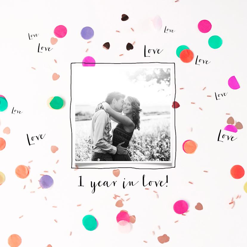 Jubileumkaarten - Jubileum samen of  getrouwd,  illustratie hartjes confetti