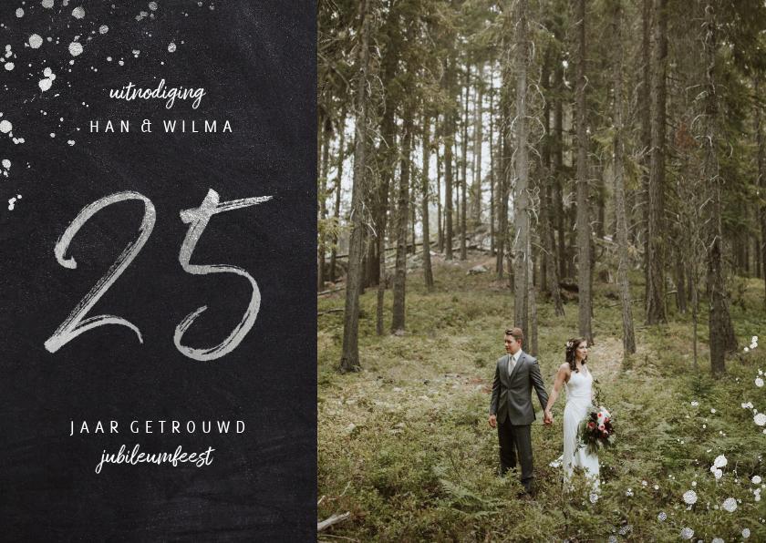 Jubileumkaarten - Jubileum uitnodiging 25 jaar getrouwd foto zilveren spetters