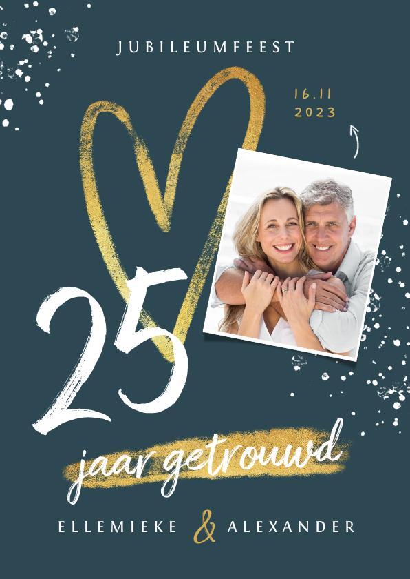 Jubileumkaarten - Jubileum uitnodiging 25 jaar getrouwd hartje foto spetters