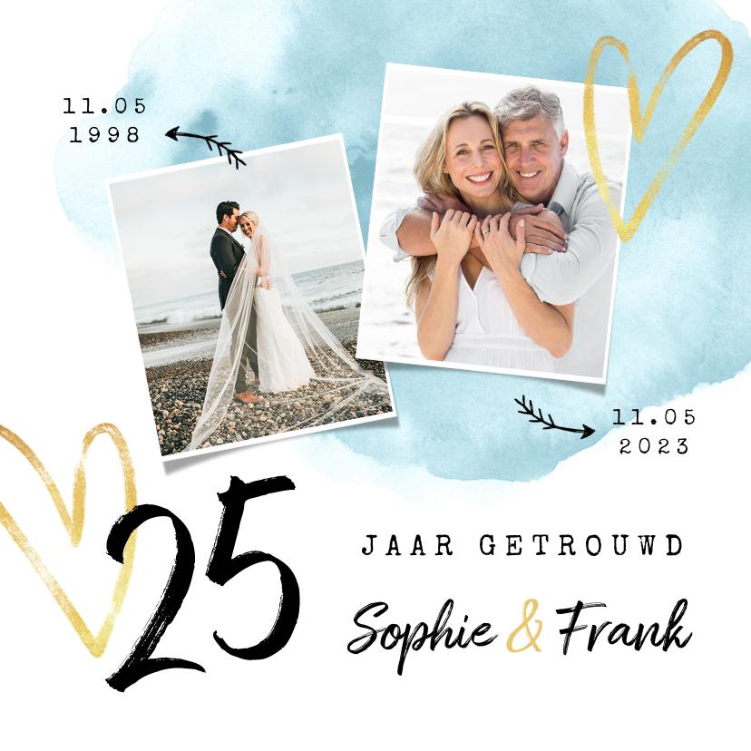Jubileumkaarten - Jubileum uitnodiging 25 jaar getrouwd waterverf hartjes goud