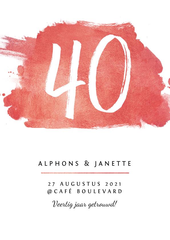 Jubileumkaarten - Jubileum uitnodiging 40 jaar stijlvol met rode verf en foto
