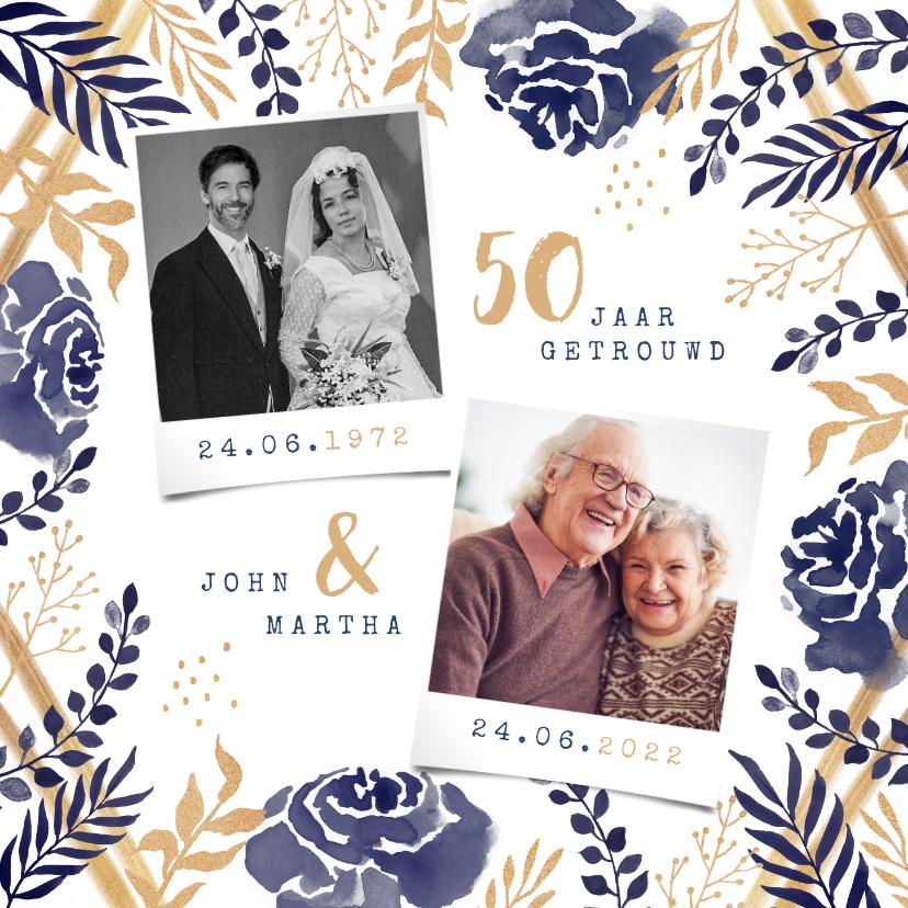 Jubileumkaarten - Jubileum uitnodiging 50 jaar bloemen waterverf foto's