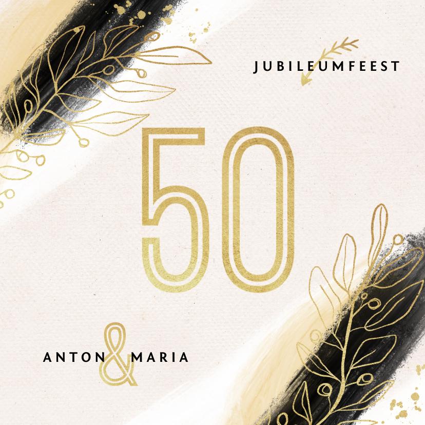 Jubileumkaarten - Jubileum uitnodiging 50 jaar goud verf stijlvol