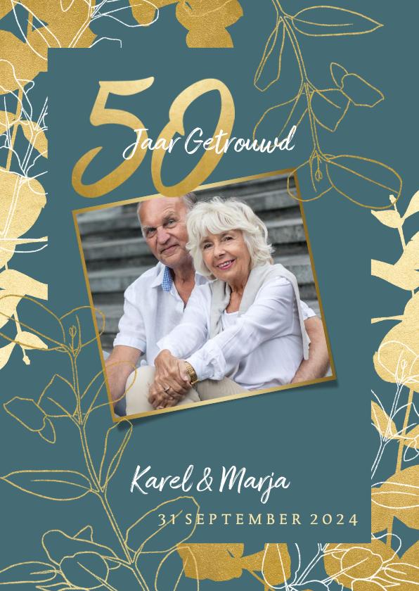 Jubileumkaarten - Jubileum uitnodiging '50 jaar' met gouden plantjes en foto's