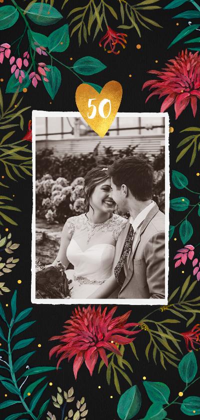 Jubileumkaarten - Jubileum uitnodiging 50 jaar met handgeschilderde bloemen