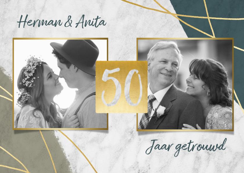 Jubileumkaarten - Jubileum uitnodiging 50 jaar met marmer, lijnen en foto's