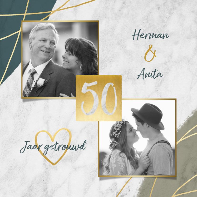 Jubileumkaarten - Jubileum uitnodiging 50 jaar met marmer, verf en foto's