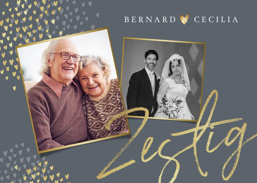 Jubileumkaarten - Jubileum uitnodiging 60 jaar goud hartjes foto's