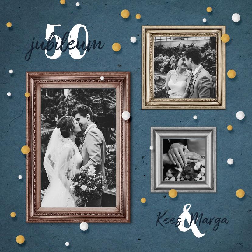 Jubileumkaarten - Jubileum uitnodiging feestelijk met fotolijstjes en confetti