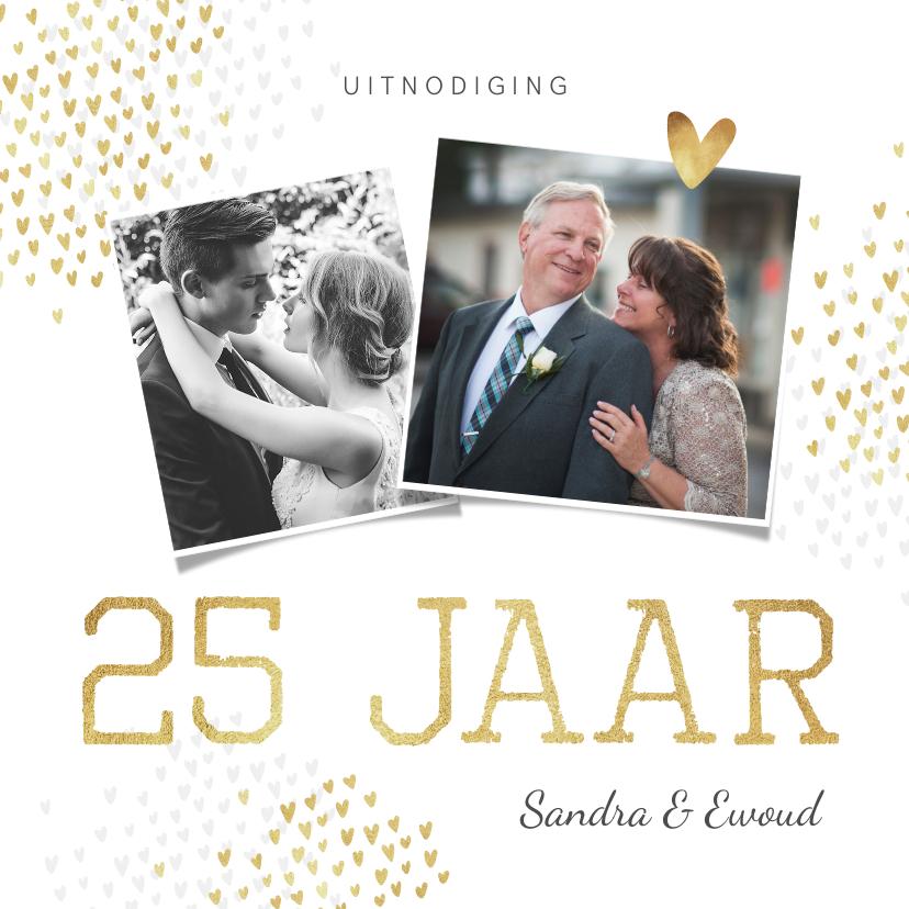 Jubileumkaarten - Jubileum uitnodiging goud hartjes stijlvol foto's