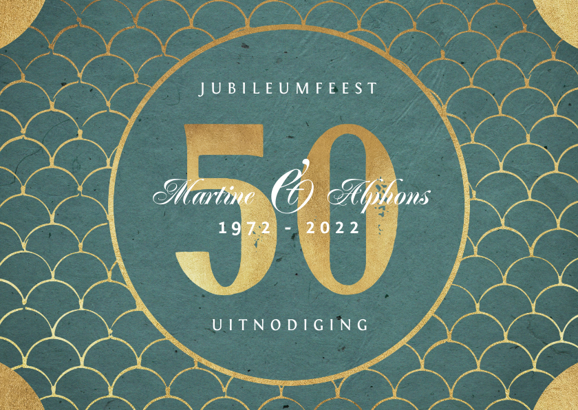Jubileumkaarten - Jubileum uitnodiging klassiek retro goud patroon