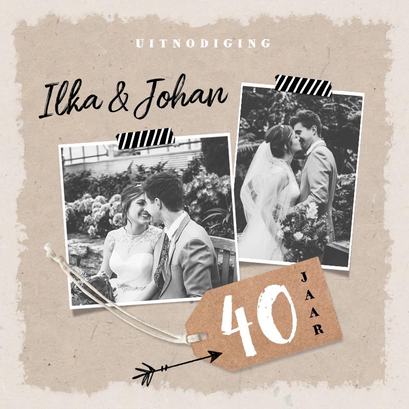 Jubileumkaarten - Jubileum uitnodiging kraftpapier met eigen foto's