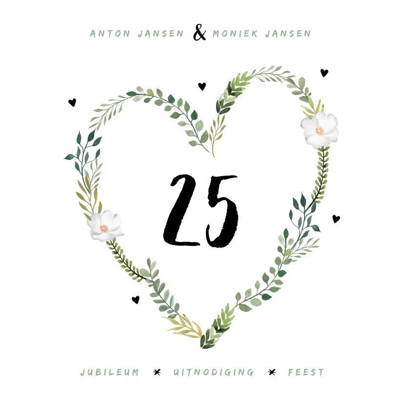 Jubileumkaarten - Jubileum uitnodiging stijlvol botanisch met hart