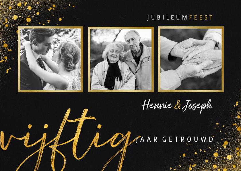 Jubileumkaarten - Jubileum uitnodiging vijftig jaar met 3 foto's