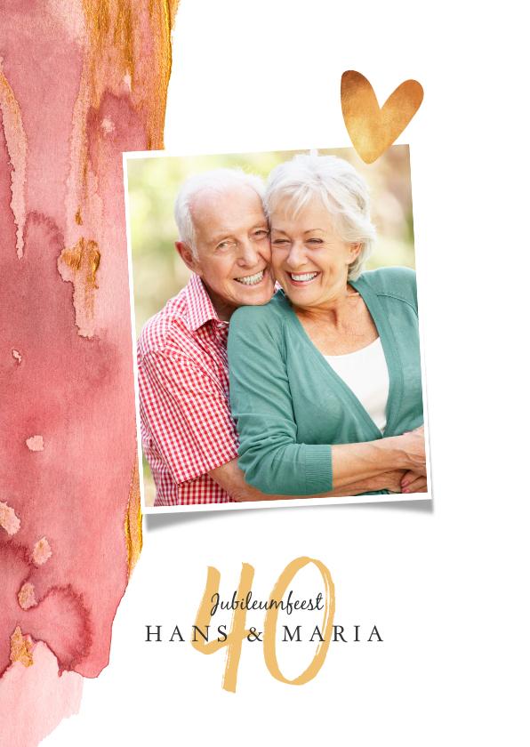 Jubileumkaarten - Jubileum uitnodiging waterverf met goud, foto en hartje
