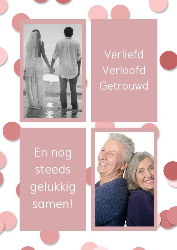 Jubileumkaarten - Jubileumfeest fotolijst en confetti