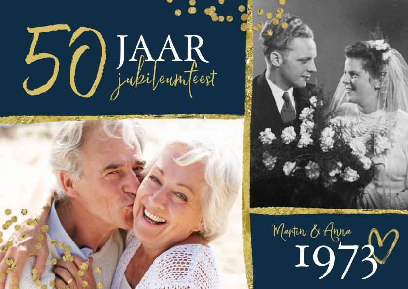 Jubileumkaarten - Jubileumfeest uitnodiging 50 jaar confetti goud foto