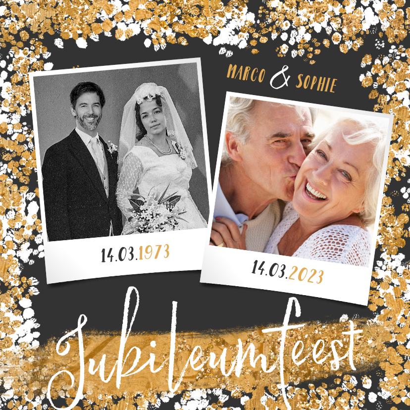 Jubileumkaarten - Jubileumfeest uitnodiging goud confetti foto's 50