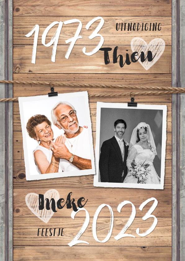 Jubileumkaarten - Jubileumfeest uitnodiging industrieel hout huwelijk