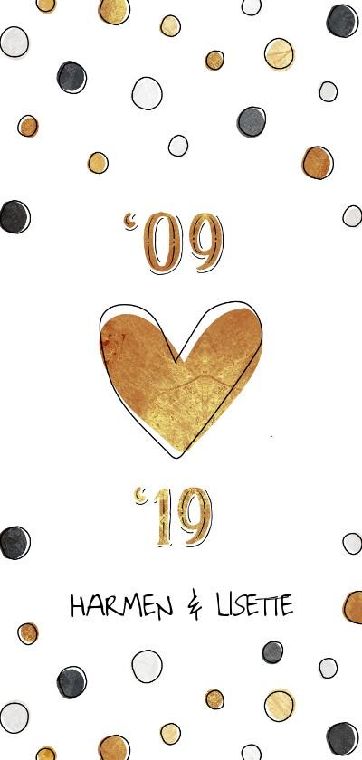 Jubileumkaarten - Jubileumkaart 10 jaar met jaartallen, hart en confetti