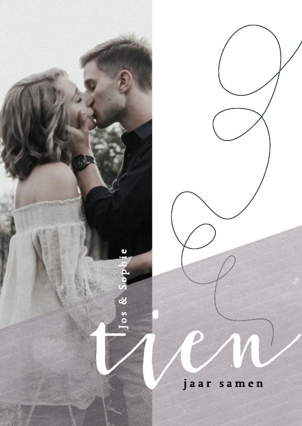 Jubileumkaarten - Jubileumkaart 10 jaar samen/getrouwd met krijtkleur paars