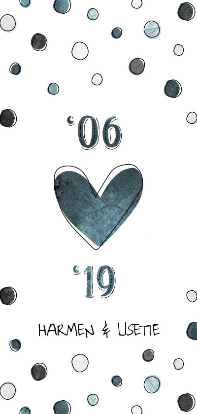 Jubileumkaarten - Jubileumkaart 12,5 jaar '06 met jaartallen, hart en confetti
