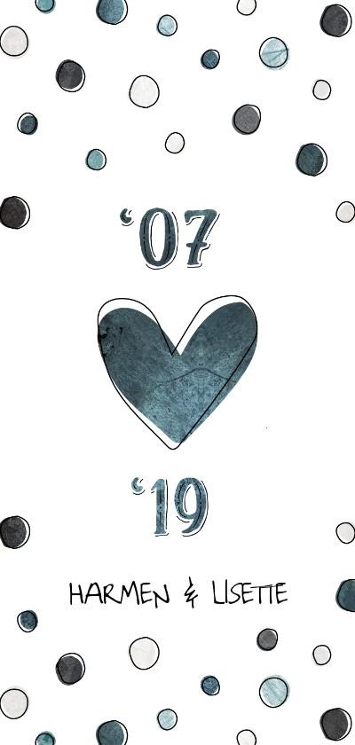 Jubileumkaarten - Jubileumkaart 12,5 jaar '07 met jaartallen, hart en confetti
