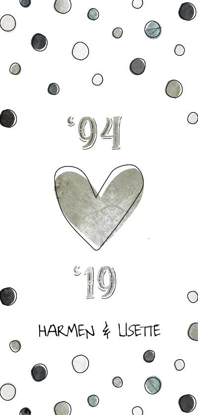 Jubileumkaarten - Jubileumkaart 25 jaar met jaartallen, hart en confetti