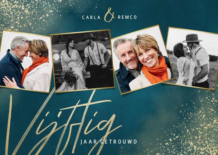 Jubileumkaarten - Jubileumkaart 50 jaar getrouwd blauw gouden spetters