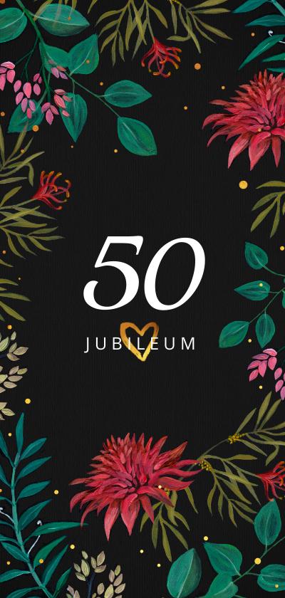 Jubileumkaarten - Jubileumkaart 50 jaar getrouwd dark floral bohemian met goud