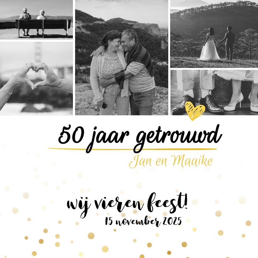 Jubileumkaarten - Jubileumkaart - 50 jaar getrouwd fotocollage