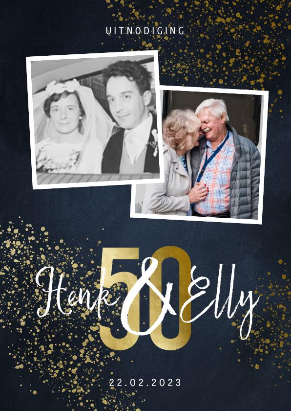 Jubileumkaarten - Jubileumkaart 50 jaar stijlvol goudlook met foto en spetters
