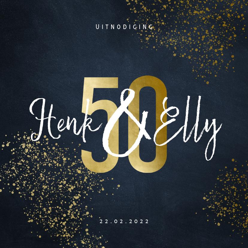 Jubileumkaarten - Jubileumkaart 50 jaar stijlvol goudlook met spetters