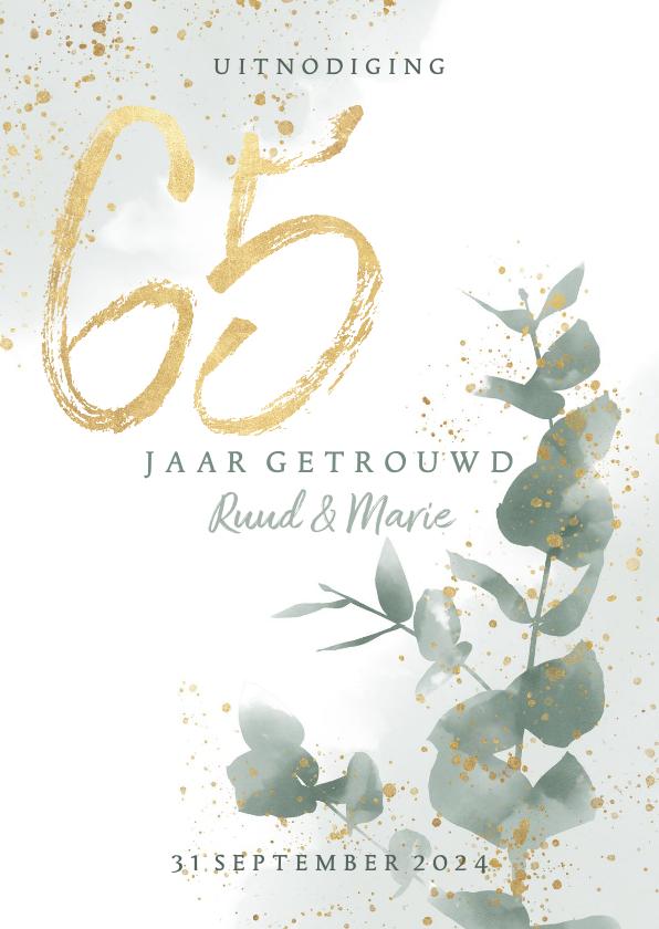 Jubileumkaarten - Jubileumkaart 65 jaar getrouwd met waterverf takje en goud