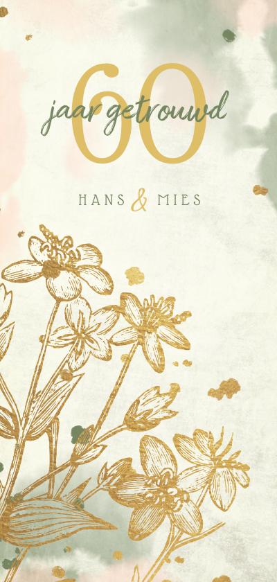 Jubileumkaarten - Jubileumkaart bloemen goud met waterverf en spetters