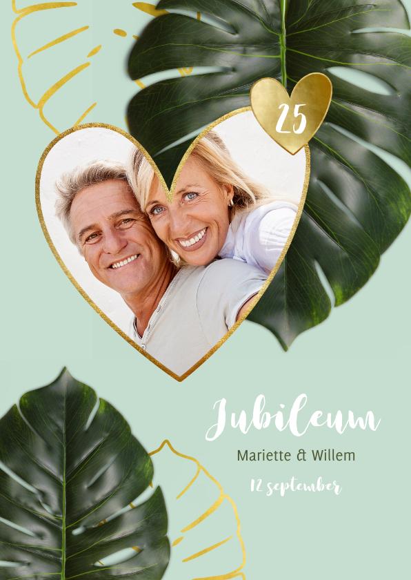 Jubileumkaarten - Jubileumkaart botanisch achtergrondkleur en jaar aanpasbaar
