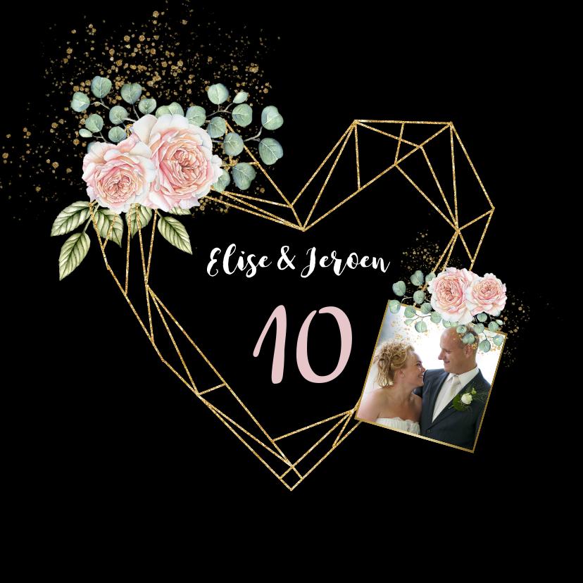 Jubileumkaarten - Jubileumkaart botanische rozen hart
