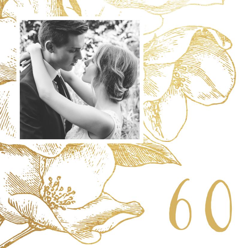 Jubileumkaarten - Jubileumkaart gouden bloemen met foto en jaartal